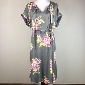 Boden Gray Floral Belted Dress 14 Long